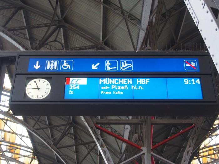 プラハ発ミュンヘン行きはプルゼニュ(Plzeň)に止まります